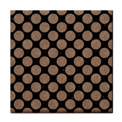 Circles2 Black Marble & Brown Colored Pencil Tile Coaster by trendistuff