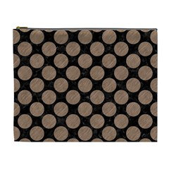 Circles2 Black Marble & Brown Colored Pencil Cosmetic Bag (xl) by trendistuff