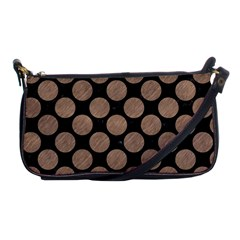 Circles2 Black Marble & Brown Colored Pencil Shoulder Clutch Bag by trendistuff