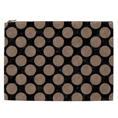 Circles2 Black Marble & Brown Colored Pencil Cosmetic Bag (xxl) by trendistuff