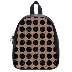 Circles1 Black Marble & Brown Colored Pencil (r) School Bag (small) by trendistuff
