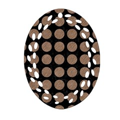 Circles1 Black Marble & Brown Colored Pencil Oval Filigree Ornament (two Sides) by trendistuff