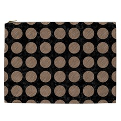 Circles1 Black Marble & Brown Colored Pencil Cosmetic Bag (xxl) by trendistuff