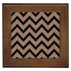 Chevron9 Black Marble & Brown Colored Pencil (r) Framed Tile by trendistuff