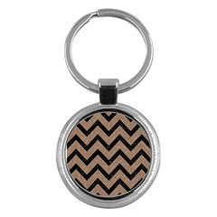 Chevron9 Black Marble & Brown Colored Pencil (r) Key Chain (round) by trendistuff