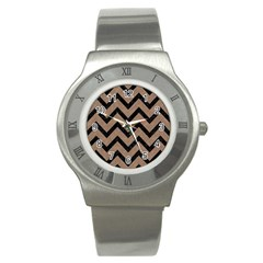 Chevron9 Black Marble & Brown Colored Pencil (r) Stainless Steel Watch by trendistuff