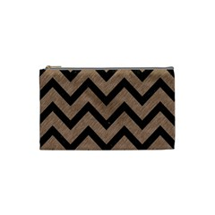 Chevron9 Black Marble & Brown Colored Pencil (r) Cosmetic Bag (small) by trendistuff
