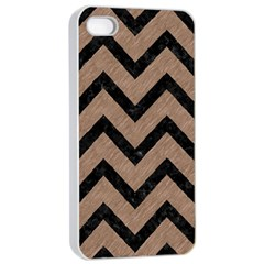 Chevron9 Black Marble & Brown Colored Pencil (r) Apple Iphone 4/4s Seamless Case (white) by trendistuff
