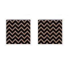 Chevron9 Black Marble & Brown Colored Pencil Cufflinks (square) by trendistuff