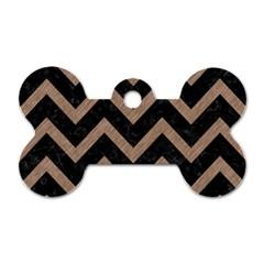 Chevron9 Black Marble & Brown Colored Pencil Dog Tag Bone (one Side) by trendistuff
