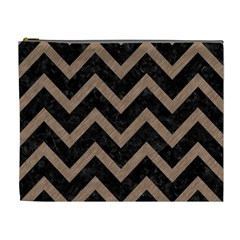 Chevron9 Black Marble & Brown Colored Pencil Cosmetic Bag (xl) by trendistuff
