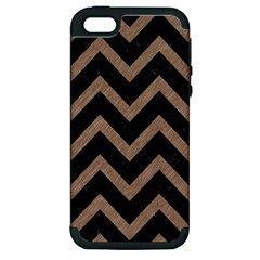 Chevron9 Black Marble & Brown Colored Pencil Apple Iphone 5 Hardshell Case (pc+silicone) by trendistuff