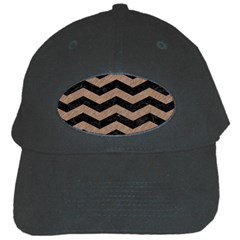 Chevron3 Black Marble & Brown Colored Pencil Black Cap
