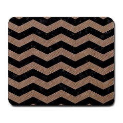 Chevron3 Black Marble & Brown Colored Pencil Large Mousepad by trendistuff