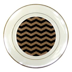 Chevron3 Black Marble & Brown Colored Pencil Porcelain Plate by trendistuff