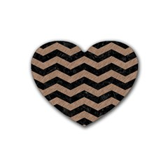 Chevron3 Black Marble & Brown Colored Pencil Rubber Heart Coaster (4 Pack) by trendistuff