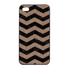 Chevron3 Black Marble & Brown Colored Pencil Apple Iphone 4/4s Seamless Case (black) by trendistuff