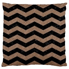 Chevron3 Black Marble & Brown Colored Pencil Large Cushion Case (one Side) by trendistuff