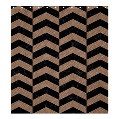 Chevron2 Black Marble & Brown Colored Pencil Shower Curtain 66  X 72  (large) by trendistuff