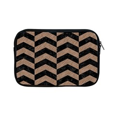 Chevron2 Black Marble & Brown Colored Pencil Apple Ipad Mini Zipper Case by trendistuff