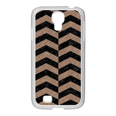 Chevron2 Black Marble & Brown Colored Pencil Samsung Galaxy S4 I9500/ I9505 Case (white) by trendistuff