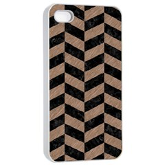 Chevron1 Black Marble & Brown Colored Pencil Apple Iphone 4/4s Seamless Case (white) by trendistuff