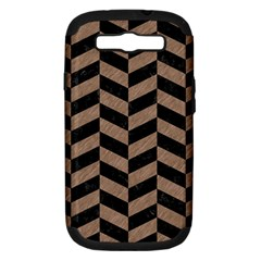 Chevron1 Black Marble & Brown Colored Pencil Samsung Galaxy S Iii Hardshell Case (pc+silicone) by trendistuff