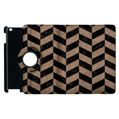 Chevron1 Black Marble & Brown Colored Pencil Apple Ipad 2 Flip 360 Case by trendistuff