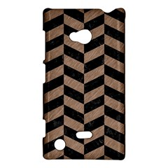 Chevron1 Black Marble & Brown Colored Pencil Nokia Lumia 720 Hardshell Case by trendistuff