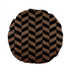 Chevron1 Black Marble & Brown Colored Pencil Standard 15  Premium Flano Round Cushion  by trendistuff