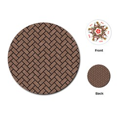 Brick2 Black Marble & Brown Colored Pencil (r) Playing Cards (round) by trendistuff