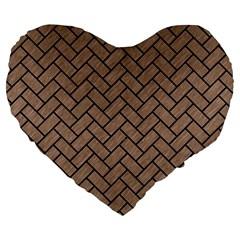 Brick2 Black Marble & Brown Colored Pencil (r) Large 19  Premium Flano Heart Shape Cushion by trendistuff