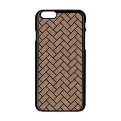 Brick2 Black Marble & Brown Colored Pencil (r) Apple Iphone 6/6s Black Enamel Case by trendistuff