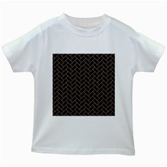 Brick2 Black Marble & Brown Colored Pencil Kids White T Shirt by trendistuff