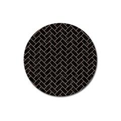 Brick2 Black Marble & Brown Colored Pencil Magnet 3  (round) by trendistuff