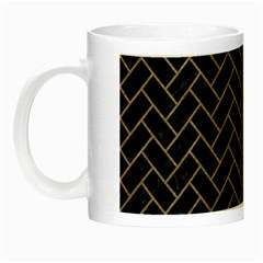 Brick2 Black Marble & Brown Colored Pencil Night Luminous Mug by trendistuff