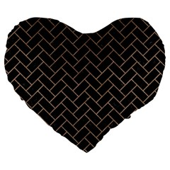 Brick2 Black Marble & Brown Colored Pencil Large 19  Premium Flano Heart Shape Cushion by trendistuff