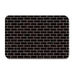 Brick1 Black Marble & Brown Colored Pencil Plate Mat by trendistuff