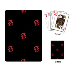 Seamless Pattern With Symbol Sex Men Women Black Background Glowing Red Black Sign Playing Card by Mariart