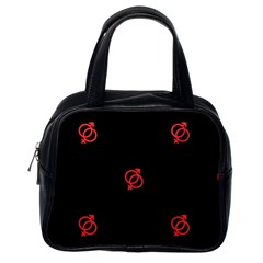 Seamless Pattern With Symbol Sex Men Women Black Background Glowing Red Black Sign Classic Handbags (one Side) by Mariart