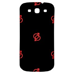 Seamless Pattern With Symbol Sex Men Women Black Background Glowing Red Black Sign Samsung Galaxy S3 S Iii Classic Hardshell Back Case by Mariart