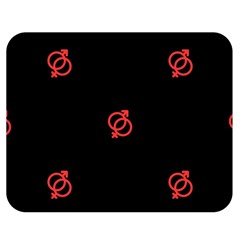 Seamless Pattern With Symbol Sex Men Women Black Background Glowing Red Black Sign Double Sided Flano Blanket (medium)  by Mariart