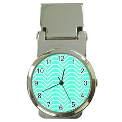 Seamless Pattern Of Curved Lines Create The Effect Of Depth The Optical Illusion Of White Wave Money Clip Watches by Mariart