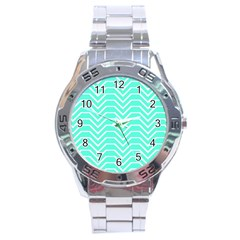 Seamless Pattern Of Curved Lines Create The Effect Of Depth The Optical Illusion Of White Wave Stainless Steel Analogue Watch by Mariart