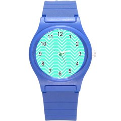 Seamless Pattern Of Curved Lines Create The Effect Of Depth The Optical Illusion Of White Wave Round Plastic Sport Watch (s) by Mariart