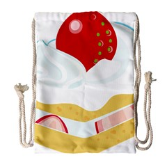 Seeds Strawberry Bread Fruite Red Drawstring Bag (large) by Mariart