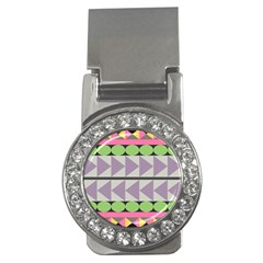 Shapes Patchwork Circle Triangle Money Clips (cz)  by Mariart