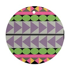Shapes Patchwork Circle Triangle Round Ornament (two Sides) by Mariart