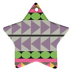 Shapes Patchwork Circle Triangle Star Ornament (two Sides) by Mariart