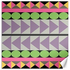 Shapes Patchwork Circle Triangle Canvas 12  X 12   by Mariart
